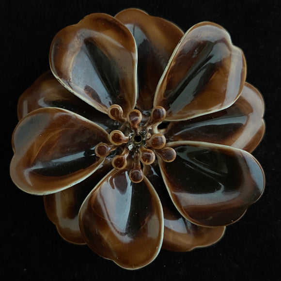 Late 60s/ Early 70s Brown Enamel Flower Brooch - Retro Kandy Vintage