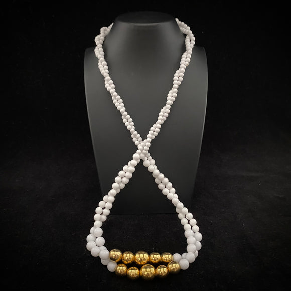 1980s Napier Gold & White Bead Necklace