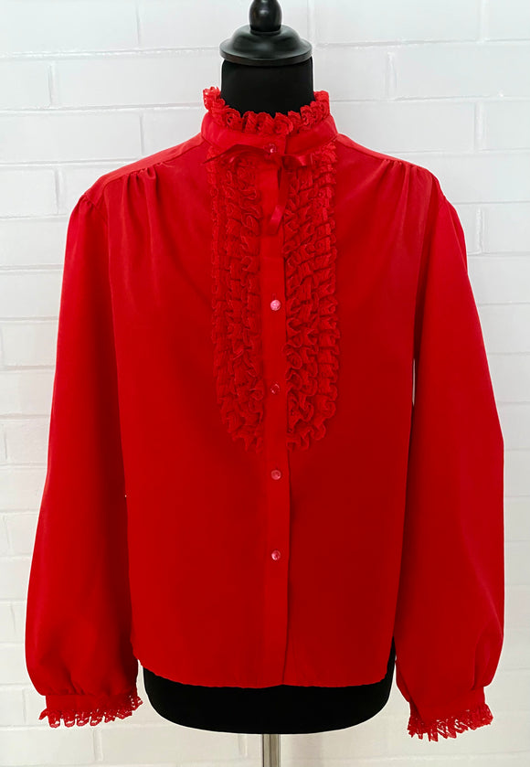 1980s Rhapsody Red Ruffled Blouse