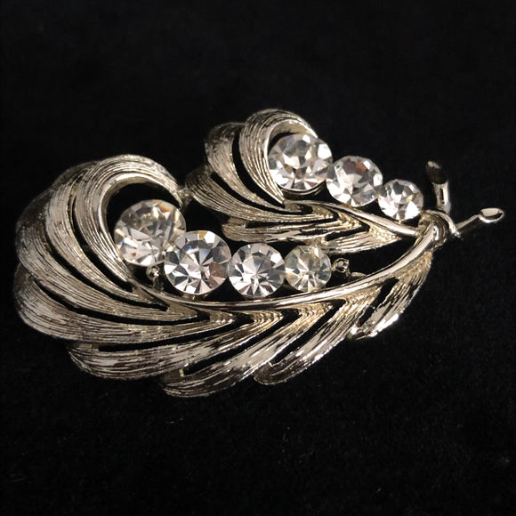 1960s Lisner Feather Rhinestone Brooch