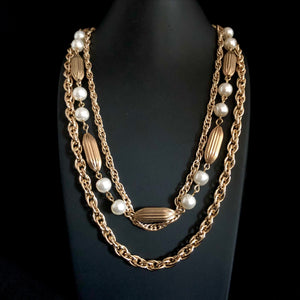 1960s Coro Gold & Pearl 3 Strand Necklace - Retro Kandy Vintage