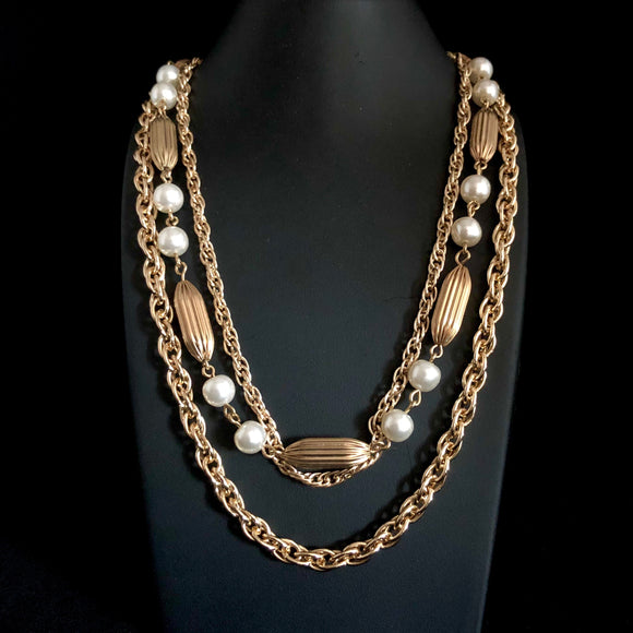 1960s Coro Gold & Pearl 3 Strand Necklace