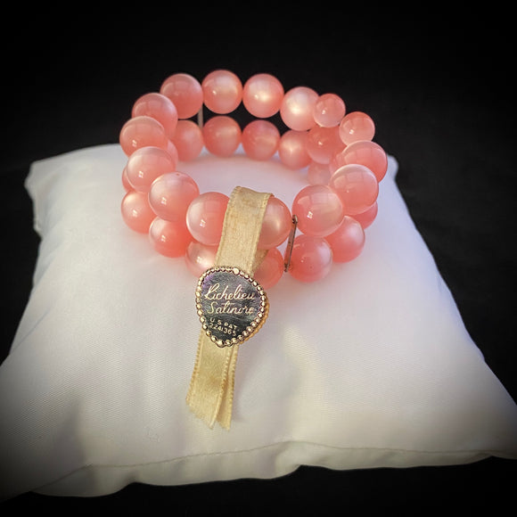 Late 50s/ Early 60s Pink Moonstone Bead Bracelet With Original Tags - Retro Kandy Vintage