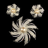 1969 Sarah Coventry Silvery Sunburst Brooch & Earrings - Retro Kandy Vintage