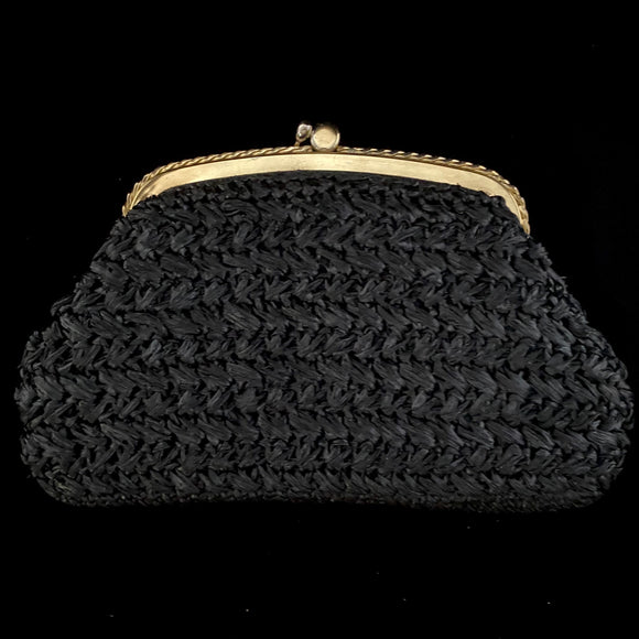 1960s Black Raffia Clutch - Retro Kandy Vintage