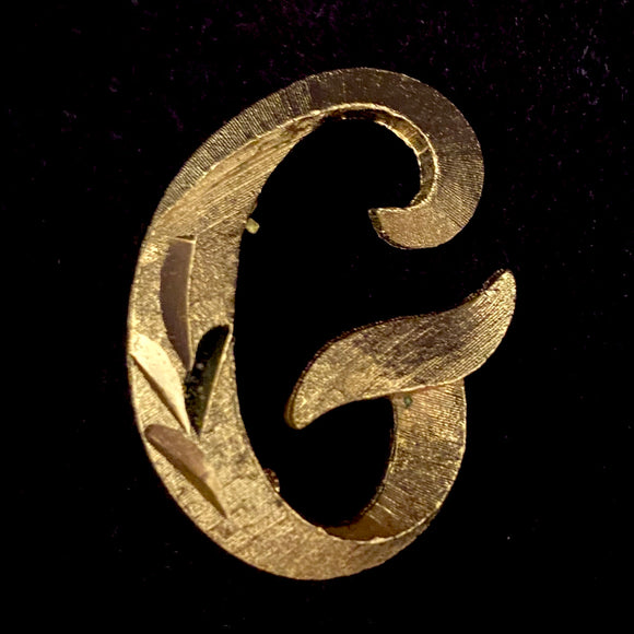 1960s Mamselle Initial 'G' Letter PIn