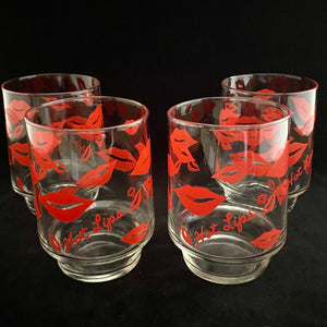 1980s Hot Lips Water Glasses, Set of 4