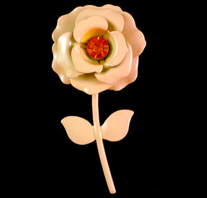 Late 60s/ Early 70s Pale Peach Enamel Flower Brooch