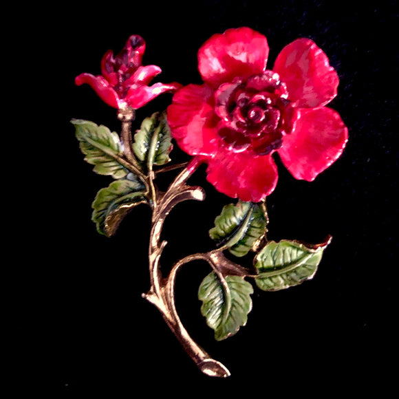 1960s Rafaelian Enameled Flower Brooch