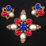 1972 Sarah Coventry Americana Brooch & Earrings - Retro Kandy Vintage