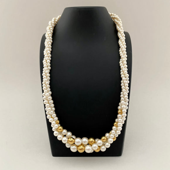 1980s Napier Pearl & Gold Necklace