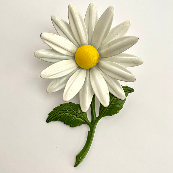 Late 60s/ Early 70s Large Daisy Enamel Flower Brooch