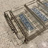 1960s Glass Serving Trays with Metal Stand