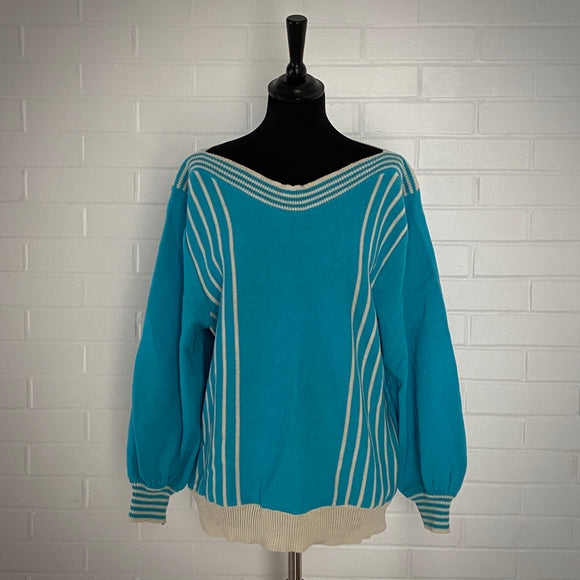 1980s Retro Aqua Sweater
