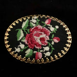 Late 70s/ Early 80s Petit Point Embroidered Brooch