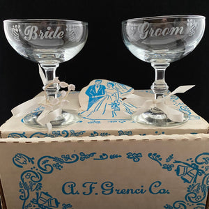 1950s Bride & Groom Champagne Glasses With Their Original Box