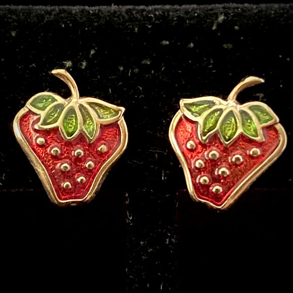 1979 Avon Glazed Strawberries Earrings - Retro Kandy Vintage