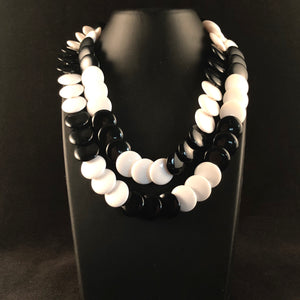 1980s Trifari Black & White Bead Necklace