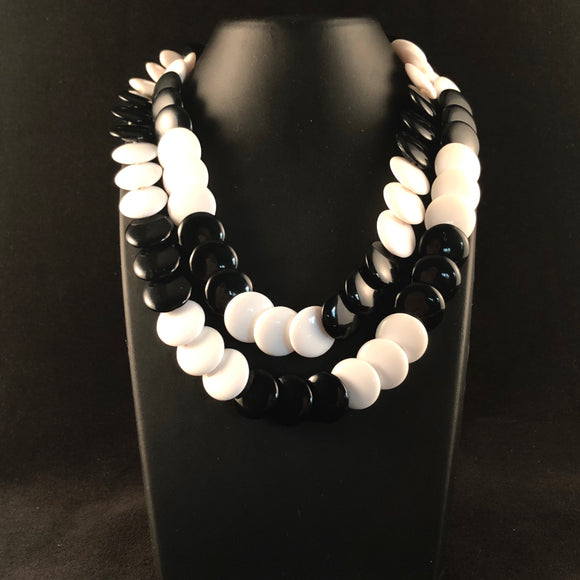 1980s Trifari Black & White Bead Necklace - Retro Kandy Vintage