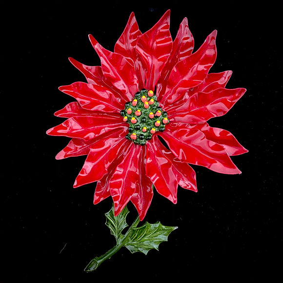 1960s Large Enamel Poinsettia Brooch