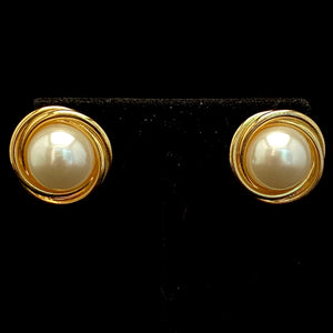 1980s Napier Faux Pearl Earrings