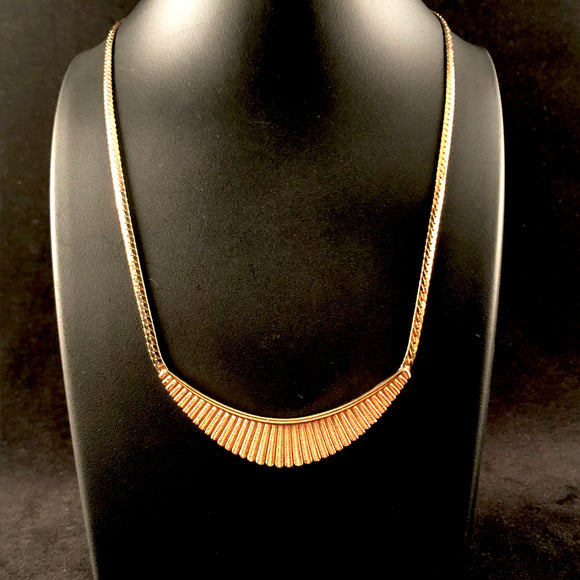 1984 Avon Pleated Crescent Necklace