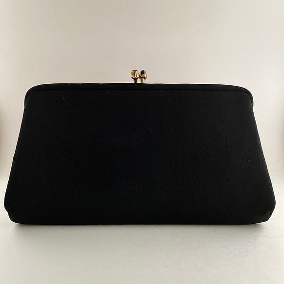 1960s Black Fabric Clutch