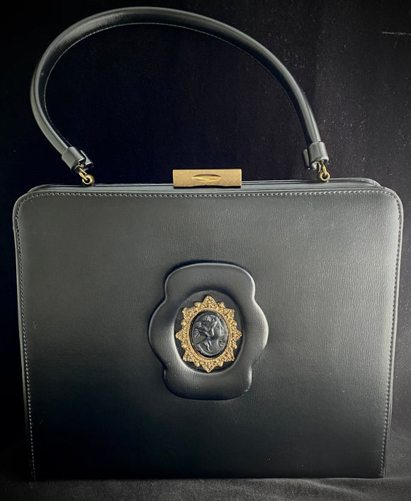 Late 50s/ Early 60s Black Cameo Handbag