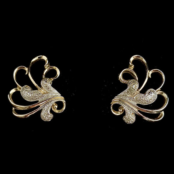 1961 Sarah Coventry Frosted Feathers Earrings - Retro Kandy Vintage