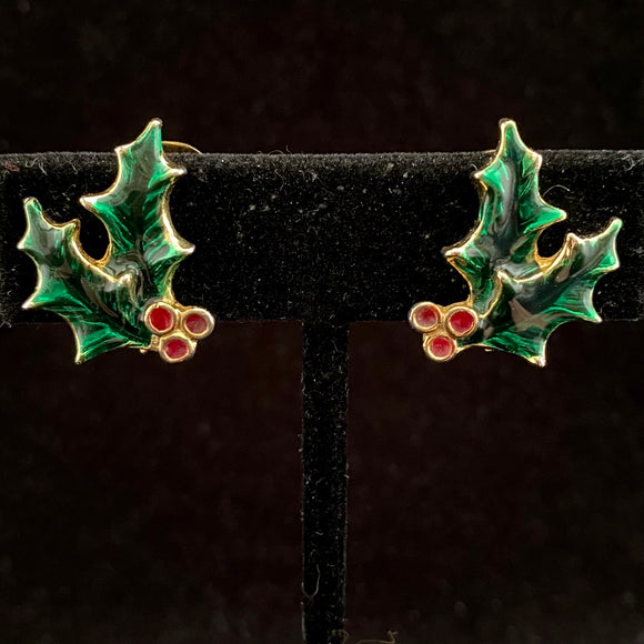 1960s Enameled Holly Earrings