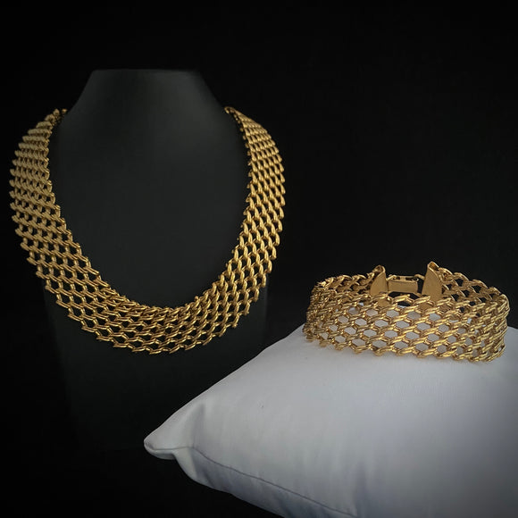 1960s Napier Open Link Mesh Necklace & Bracelet