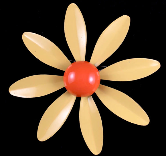 Late 60s/ Early 70s Yellow & Orange Enamel Daisy Pin - Retro Kandy Vintage