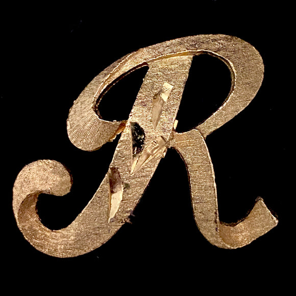 1960s Mamselle Initial 'R' Letter Pin