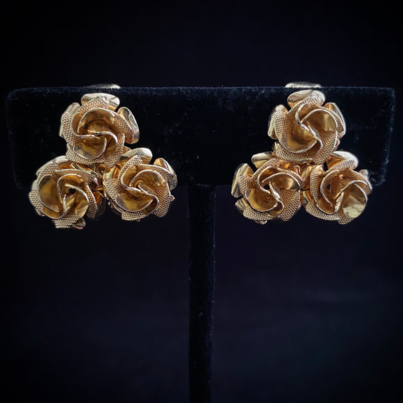 1960s Coro Gold Rose Earrings - Retro Kandy Vintage