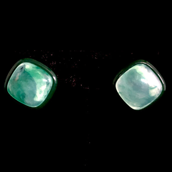 1986 Avon Polished Spectrum Green Earrings