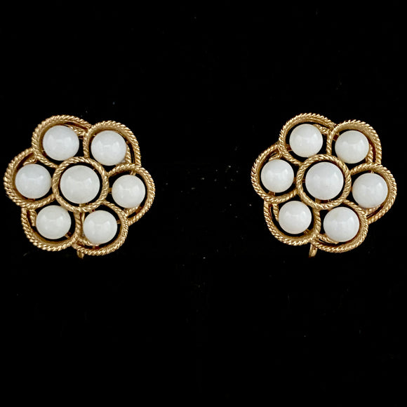 1960s Trifari White & Gold Earrings