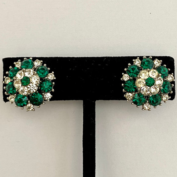 1960s Crown Trifari Rhinestone Earrings