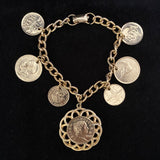 Late 50s/ Early 60s Coro Gold Coin Charm Bracelet - Retro Kandy Vintage