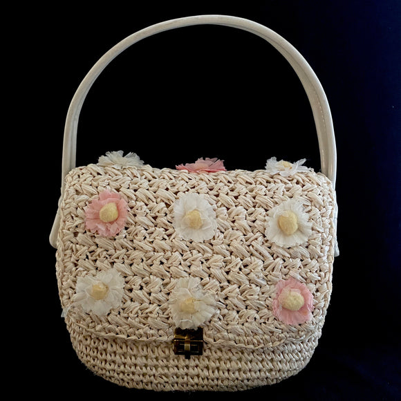 Late 50s/ Early 60s Marcus Brother's of Miami Raffia Handbag - Retro Kandy Vintage