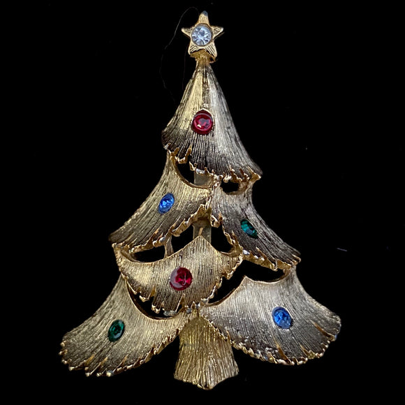 1960s  JJ (The Jonette Jewelry Company) Christmas Tree Brooch - Retro Kandy Vintage