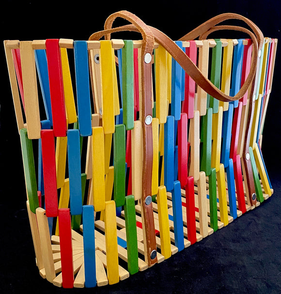 60s/70s Colored Wooden Tote