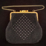 Late 60s/ Early 70s Black Beaded Purse - Retro Kandy Vintage