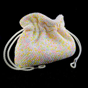 Late 50s/ Early 60s Beaded Reversible Drawstring Bag - Retro Kandy Vintage