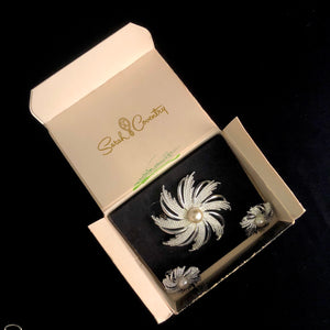 1969 Sarah Coventry Silvery Sunburst Brooch & Earrings in Original Box