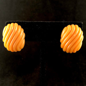 1987 Avon Color Shapes Earrings -Amber - Retro Kandy Vintage