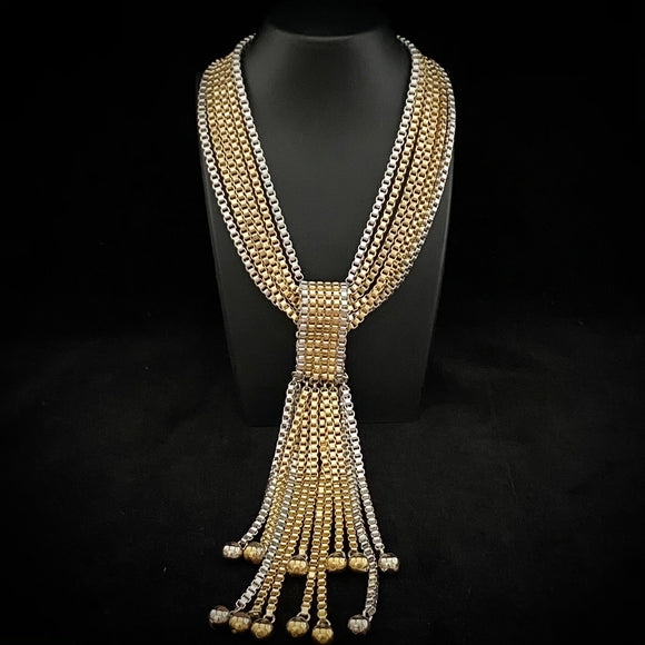 50s/60s GM Gold & Silver-Tone Box Chain Necklace
