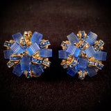 1960s Les Bernard Glass Bead & Rhinestone Earrings - Retro Kandy Vintage