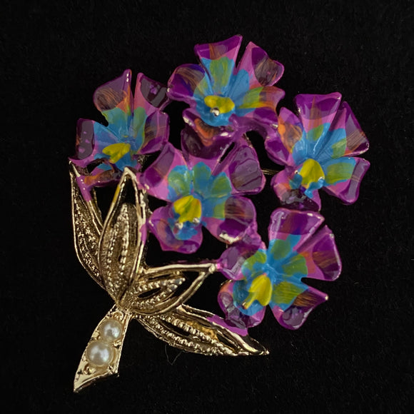 1960s Tropical Orchid Bouquet Brooch