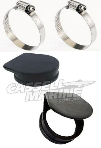 "Exhaust Guards - Exhaust Flap Set with Clamps suit Small 2 1/2"" pipe"