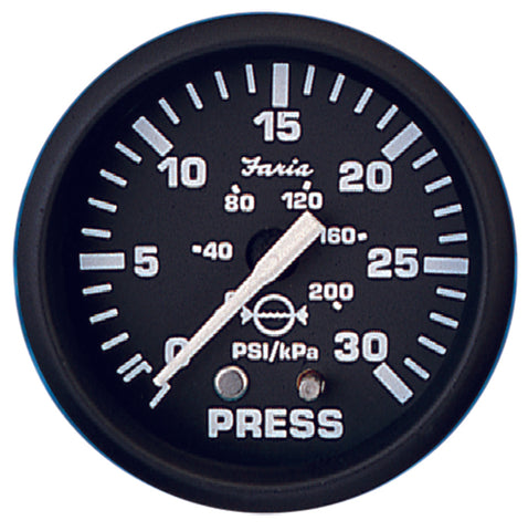 "Faria 2"" Water Pressure Gauge Kit 30psi Euro Black"
